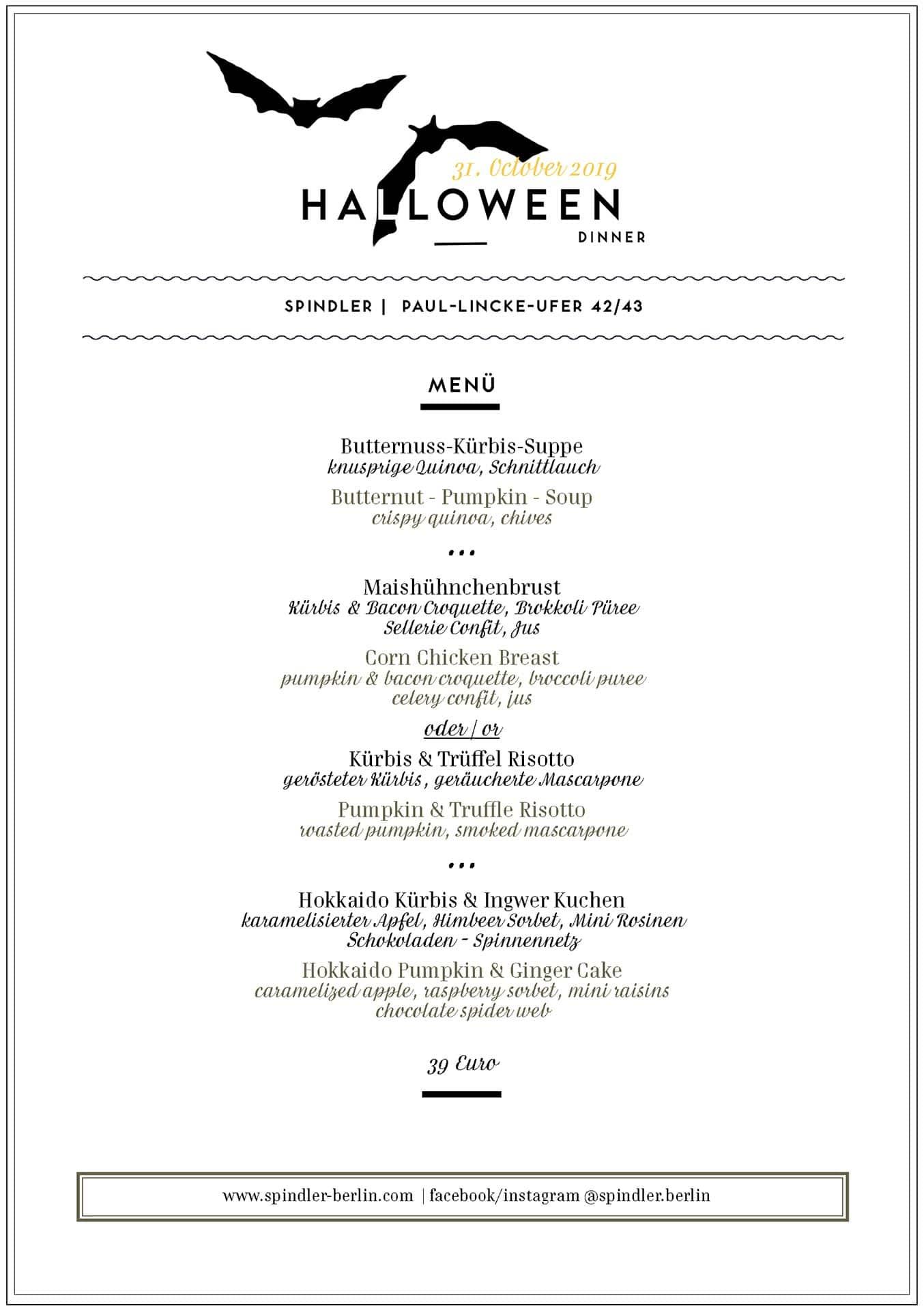 Spindler Halloween Dinner Berlin Menü