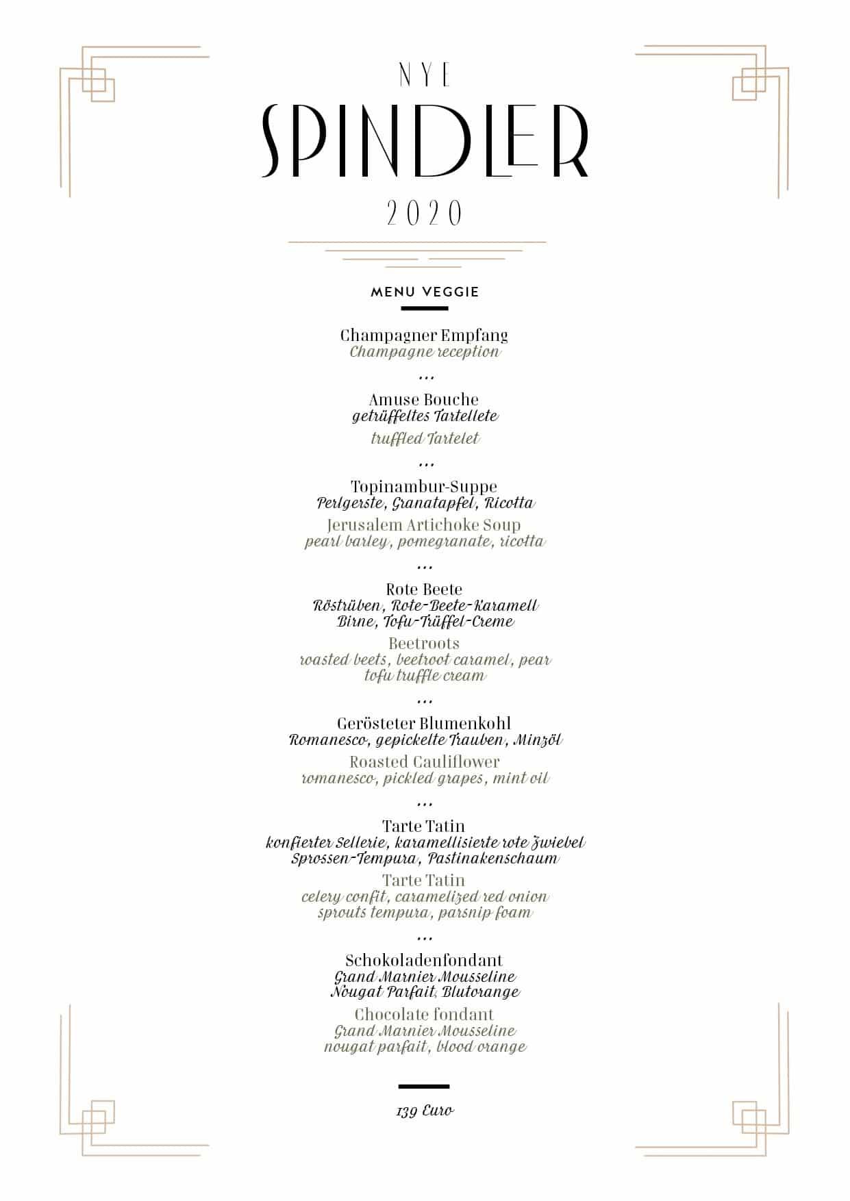 Spindler Restaurant Berlin Silvester NYE 2020 MENU veggie